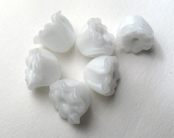 LILY of the VALLEY, Bell Flower Beads handmade jewelry supplies, white glass lampwork florals