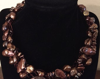 Hand made Keshi and Fresh Water Pearls Necklace
