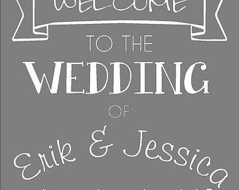 Welcome to the Wedding decal approx 19 x 20 put in frame or on chalkboard comes in choice of color