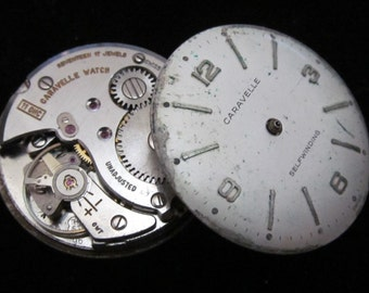 Vintage Antique Caravelle Watch Movements with dials faces Steampunk Altered Art A 25