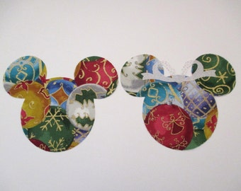 "Mickey and  Minnie Mouse Iron On Appliques Large 6"" Holiday"