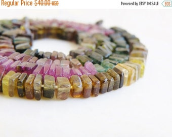 Mega SALE Tourmaline Gemstone Square Cut Faceted Rondelle Heishi Cube 4 to 5mm 190 beads Full strand