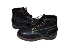 1970s Vintage Addison Black Jump Work Boots Sz 8 Fresh Biltrite Sole Heel Combat