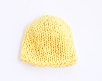 Light yellow cotton baby hat, newborn hat, lemon baby shower, knit baby hat, baby girl hat, baby hat, newborn hospital hat, girl baby