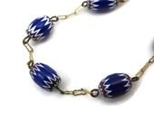 Murano Glass Bead Bracelet - Millefiori, Cobalt Blue