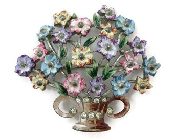 Pot Metal Brooch - Rhinestone and Enamel Flower Costume Jewelry 1930s