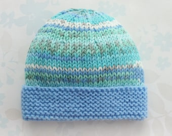 PREEMIE HAT - to fit 2.5 to 5.5 lb baby boy - NICU Kangaroo Care - baby yarn in shades of blue, green and white with a blue brim