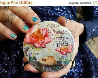ON SALE With Our Thoughts Pocket Mirror | Buddha quote, mindfulness mirror, yoga mirror, yoga gift, inspirational quote, buddha gift | by Me