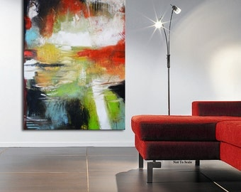 ABSTRACT PAINTING, Large Abstract Painting, red green painting, original painting, Orange Blue Painting, large art, modern painting
