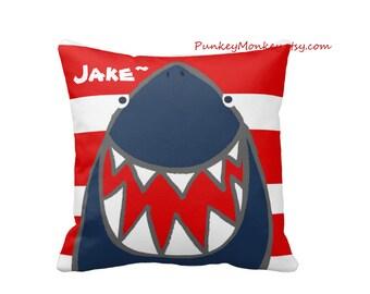 Shark pillow Striped or chevron toss pillow beach theme ocean fish surf sharks beach decor kids toddler boys girls teen adult personalized