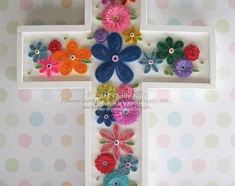 Paper Quilled Embellished Wood Cross, Decorative Wall Hanging