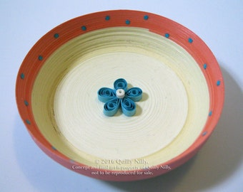 Paper Quilled Ring Dish, Dotted with Aqua Flower, READY TO SHIP