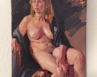 "Art painting nude figure portrait ""The Black Robe"" Original oil on canvas by Sarah Sedwick 8x10"