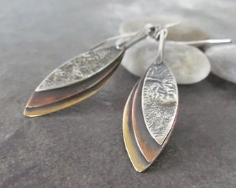 Rustic Dangle Leaf Artisan Handmade Metalwork Sterling Silver OOAK Earrings.