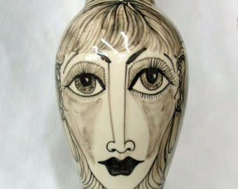 Ceramic Vase Tall Slim Whimsical Handpainted Black & White Face and Floral on Etsy
