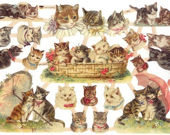 Germany Paper Scraps Lithographed Die Cuts Of Victorian Cats  7415