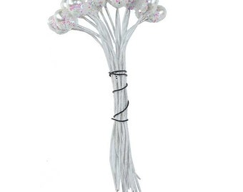 Millinery Flower Stamen Germany 24 Pearly And Glittered Peps  MNG 227