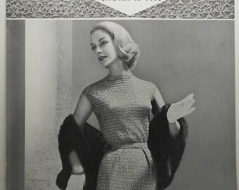 Vintage Original 1950s BUCILLA Ruban d'Art SKIRT BLOUSE Ribbon Knitting Pattern R-1001 Short Sleeve Long Belted Wiggle Marilyn Sheath