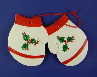 0031 Holly mittens. Free shipping. Message shown is a suggestion. Ornaments can be written with a message/name/date of your choice.