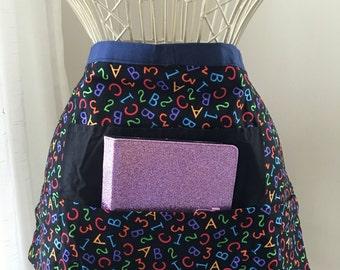 Teacher Vendor Waist Half iPad Apron Art Craft School Letters Numbers Fabric (4 Pockets)
