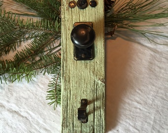 Reclaimed Wood Key Holder with Cherub and Vintage Doorknob Cottage Decor