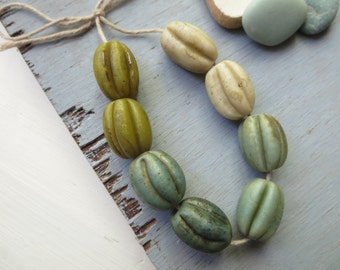 Mix melon lampwork glass beads, Opaque blue - green beige  oval , dark rustic gritty aged look, indonesian 15-17mm  / 8 beads, 5A8-1