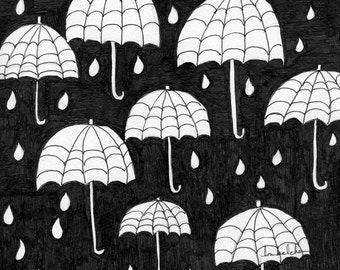 B/W #27 for 30/30 - Original Pen and Ink: Raindrops