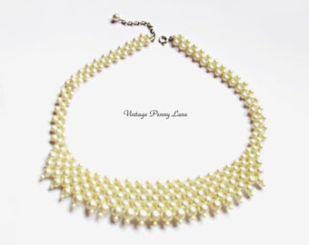 Faux Pearl Bead Collar Necklace - Vintage Costume Jewelry
