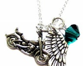 """Motorcycle Charm, Angel Wing Charm, Raphael Swarovski Crystal, Sterling Silver Necklace 18"""", Womens Motorcycle Jewelry"""