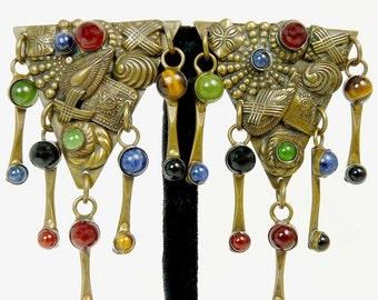 Vintage Sorrelli Earrings Bronze Natural Gemstones Clip Earrings