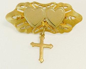 Vintage Gold Plate Heart & Cross Brooch