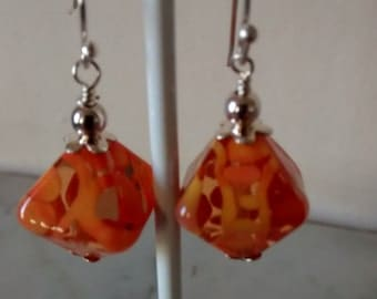 Orange Lampwork Earrings--- free shipping worldwide
