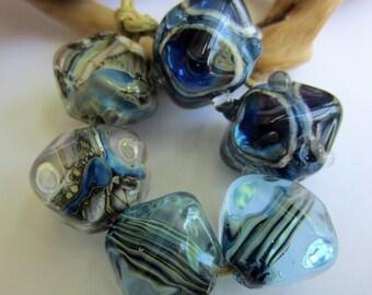 Indigo Lampwork Crystal Pairs   - Set of 6 Lampwork Beads