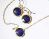 Genuine Sapphire 2-piece SET Adjustable Sapphire Necklace Sapphire Earrings September Birthstone Precious Sapphire BZ-SET-105.2-Sapph/g
