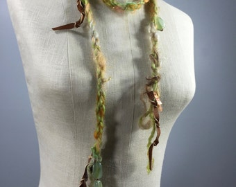 Uniquely Designed Art Necklace-Leather Strips, Green Adventurine Beads, Copper Dangles on a Green, Gold, Orange, Tan Mohair Wool Cord