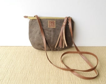 date purse  • crossbody bag - waxed canvas • dark brown waxed canvas - gifts under 50 - simple cross body bag • scout