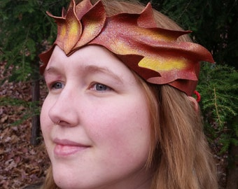 Leather Pixi Crown in Red