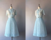 Vintage 50s Dress / Early 1960s Sheer Embroidered Day Dress / 1950s Pale Blue Pleated Dress