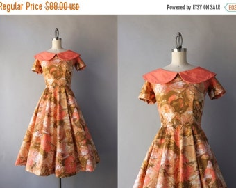 STOREWIDE SALE 1950s Dress / Vintage 50s Salmon Floral Cotton Dress / 1950s Day Dress