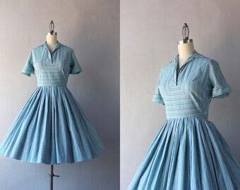 Vintage 50s Dress / 1950s Blue Stripe Day Dress / Fifties Striped Cotton Day Dress