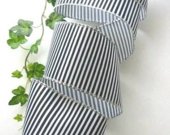 10 Yards Black White Stripe 2 1/2 Inch  Wired Edge Ribbon Bows Wreaths