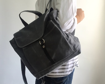 Sale 25% - Waxed canvas backpack in GRAY , school bag ,leather Satchel Rucksack, Messenger Laptop bag Tote,unisex school bag / Tanya