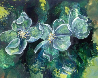 EMERALD DANCE Original Matted Flower 9X12 painting by Sherry Shipley