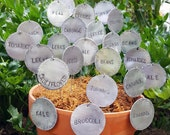 """10 Plant Tags, Garden Row Markers, Seedling ID, Garden Art, Plant Jewelry, Stamped Textured 2"""" Aluminium Disc, 8.5 inch Stainless Stake"""