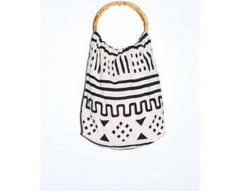 Vintage Black and White Bamboo Purse