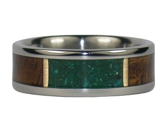 Green Chrysocolla Ring with Dark Koa Wood