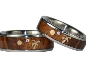 Koa Wood Diamond Gold Palm Tree Ring