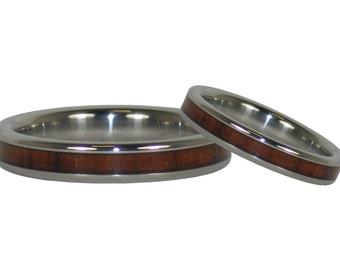 Koa Wood Stack Ring Titanium Ring Set