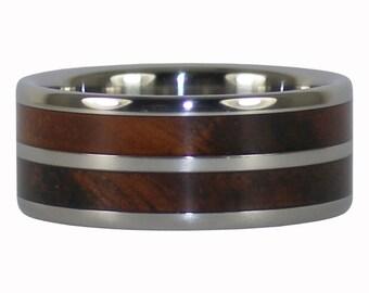 Curly Koa Wood Inlay Ring