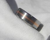 Wedding Band, Titanium with Copper Inlay Ring, Beveled Edge, Brushed Polished